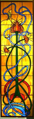Art Nouveau Pomegranate Stained Glass Window