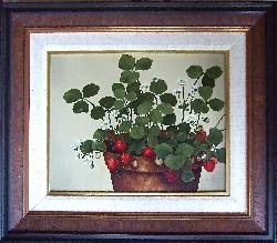 "E Thomas Hall painting, ""Strawberries in a Clay Pot"""
