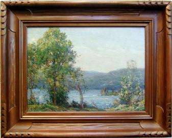 "Gustave Wiegand Painting ""Blue Mountain Lake"""